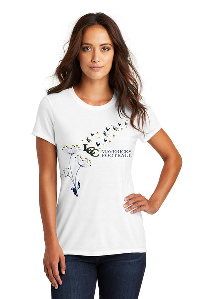 - Ladies Tri-Blend Tee Mavericks Football  Flower :White