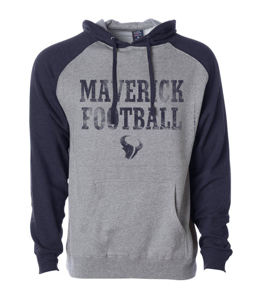 - Hoodie Unisex Ragland Two-Tone Maverick Football in Heather Grey and Navy