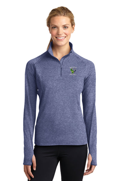 - Jacket Ladies Sport-Tek Sport Wick 1/4 Zip Pullover |  Maverick Football EMB /  True Navy Heather