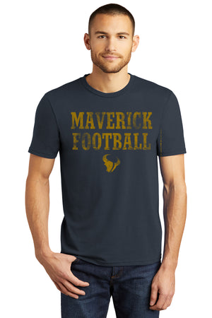 Open image in slideshow, 103 - Short Sleeve Tee -Maverick Football Navy w/ Gold Ink
