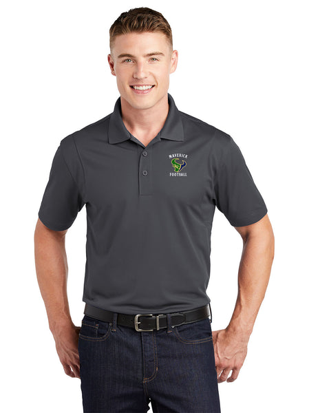 - Polo Sport-Tek Sport Wick Polo-Maverick Football Embroidery /Iron Grey