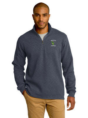 Open image in slideshow, - Jacket Mens  Port Authority® Slub Fleece 1/4-Zip Pullover Sweatshirt |  Maverick Football EMB / Charcoal Heather Grey