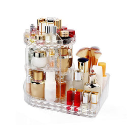 L-Shaped Diamond Rotating Cosmetics Organizer