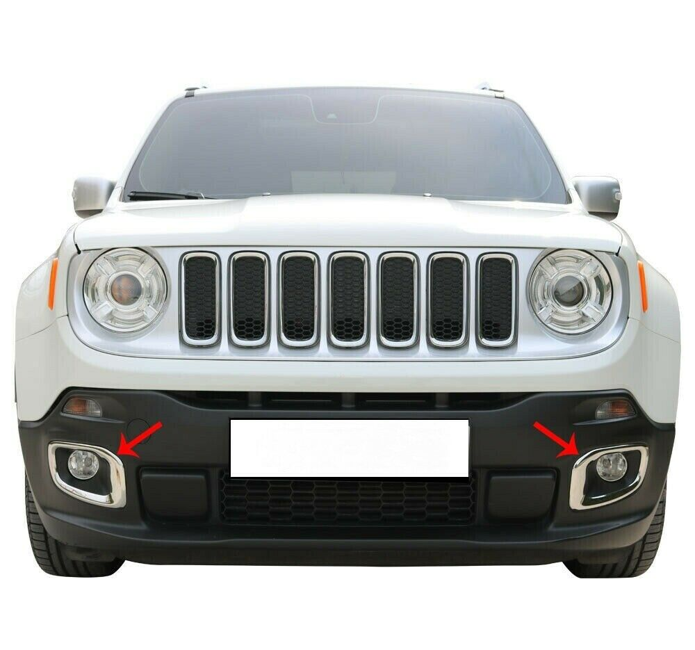Fit Jeep Renegade 2014Up  Chrome Fog Lamp Rim Covers 2Pcs S.Steel