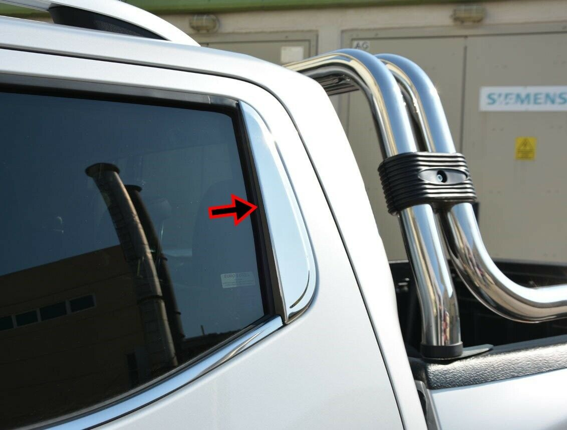 Fit Nissan Navara NP300 2016Up Chrome Rear Window Trim Accent Cover 2Pcs S.Steel