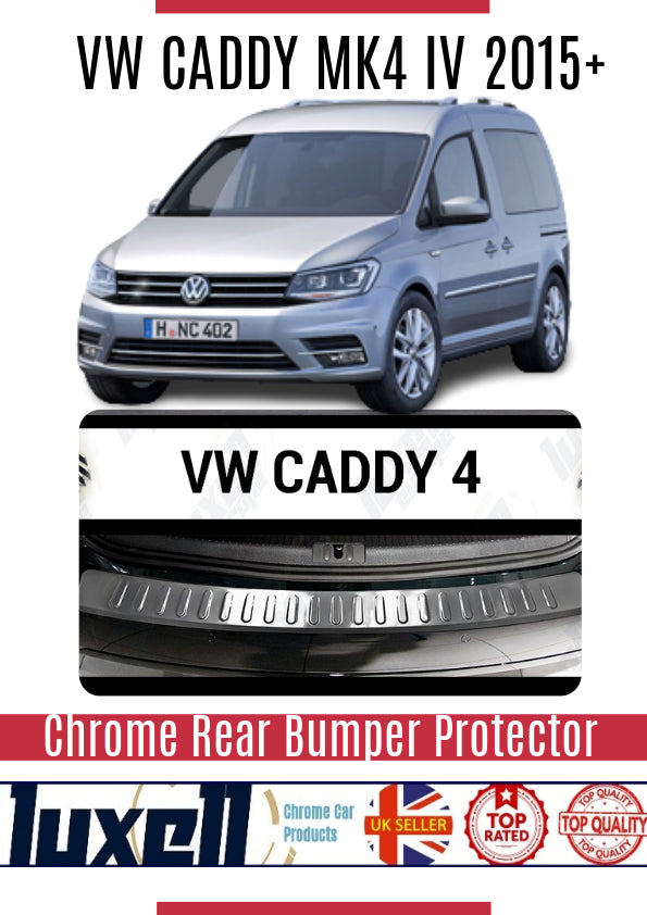 Vw Caddy MK4 IV 2015Up Chrome Rear Bumper Protector Scratch Guard S.Steel