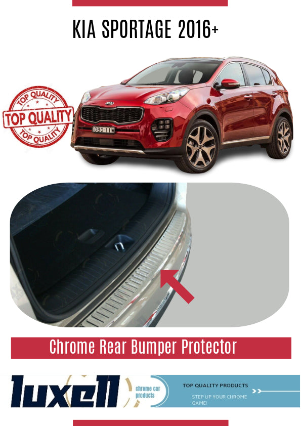 KIA Sportage 2016Up Chrome Rear Bumper Protector Scratch Guard S.Steel