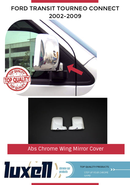 2002-2009 Ford Transit Tourneo Connect Abs Chrome Wing  Mirror Cover 2Pcs