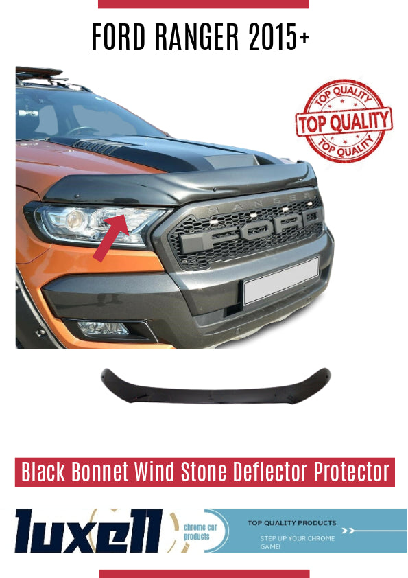 FORD RANGER 2015UP BLACK BONNET WIND STONE DEFLECTOR PROTECTOR NOT BONNET BRA