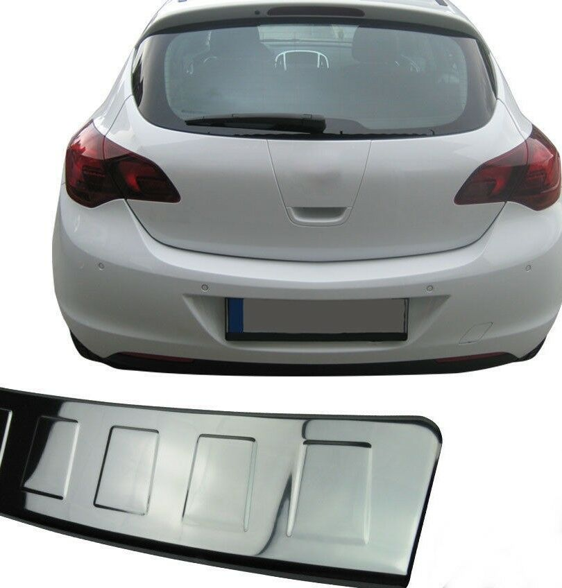 Vauxhall Opel Astra j HB 2010+Chrome Rear Bumper Protector Scratch Guard S.Steel