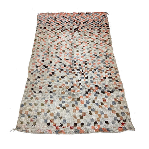 Contemporary Moroccan checkerboard print rug