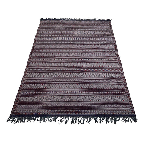 Large purple flat woven Moroccan area rug