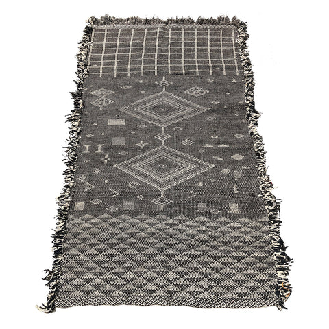 Black and white Moroccan flatweave kilim diamond rug
