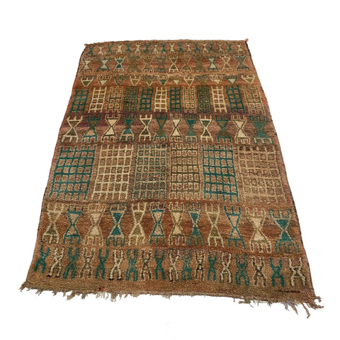 Vintage Moroccan berber carpet with tribal motifs