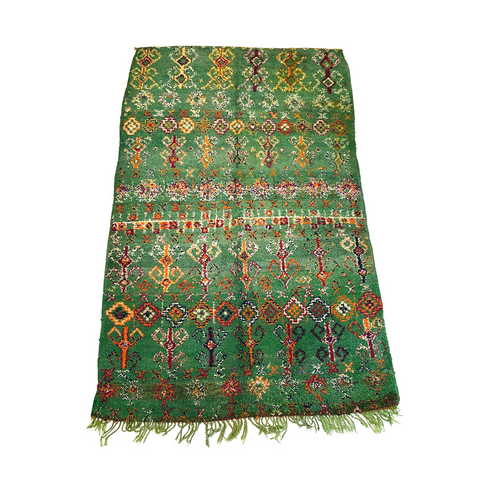 Boho chic vintage Moroccan rug in kelly green
