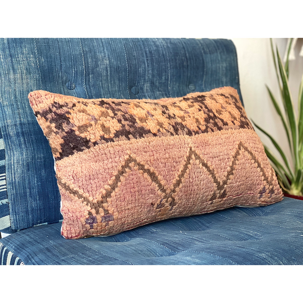Pink upcycled throw pillow made from a vintage Moroccan rug - Kantara | Moroccan Rugs