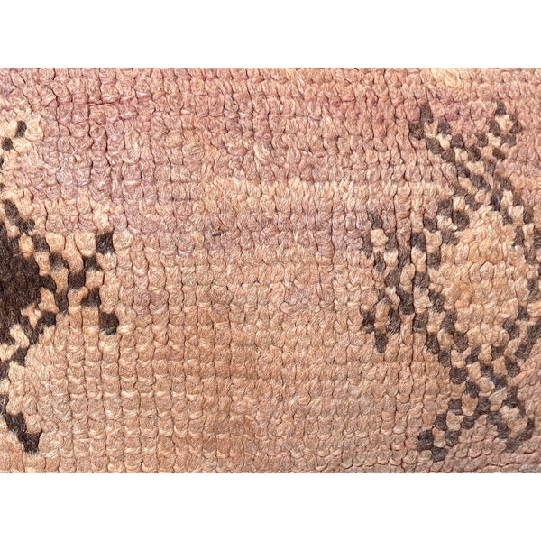 Pink vintage Moroccan throw pillow with brown details - Kantara | Moroccan Rugs