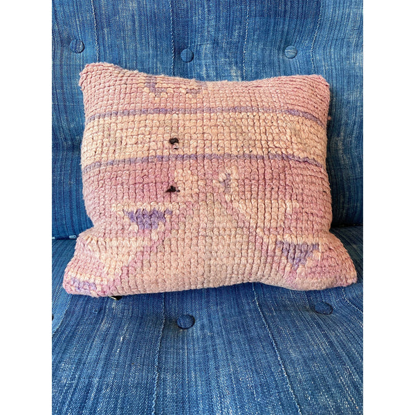 Pink vintage Moroccan throw pillow with geometric details - Kantara | Moroccan Rugs