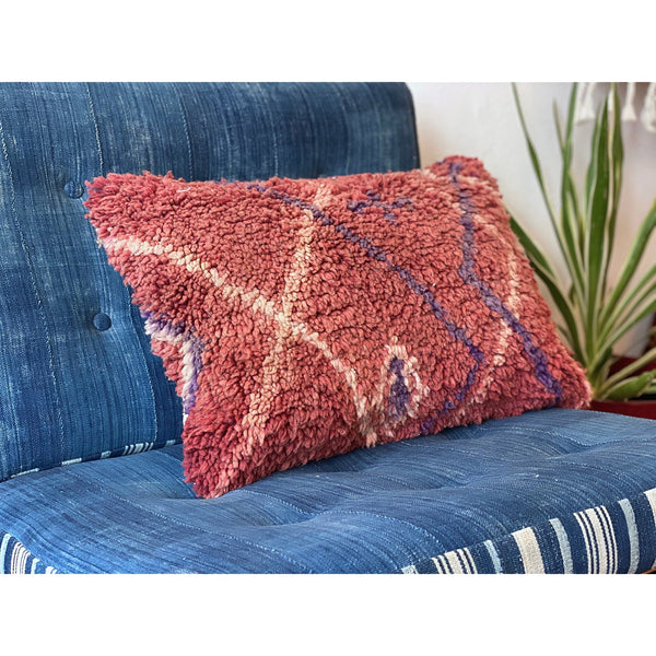 Plush red Moroccan throw pillow with funky stripe pattern - Kantara | Moroccan Rugs