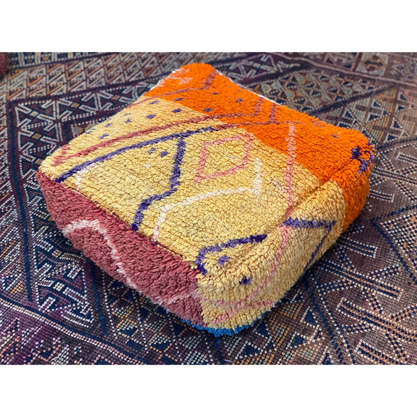 Yellow and orange Moroccan floor pouf with geometric pattern design - Kantara | Moroccan Rugs