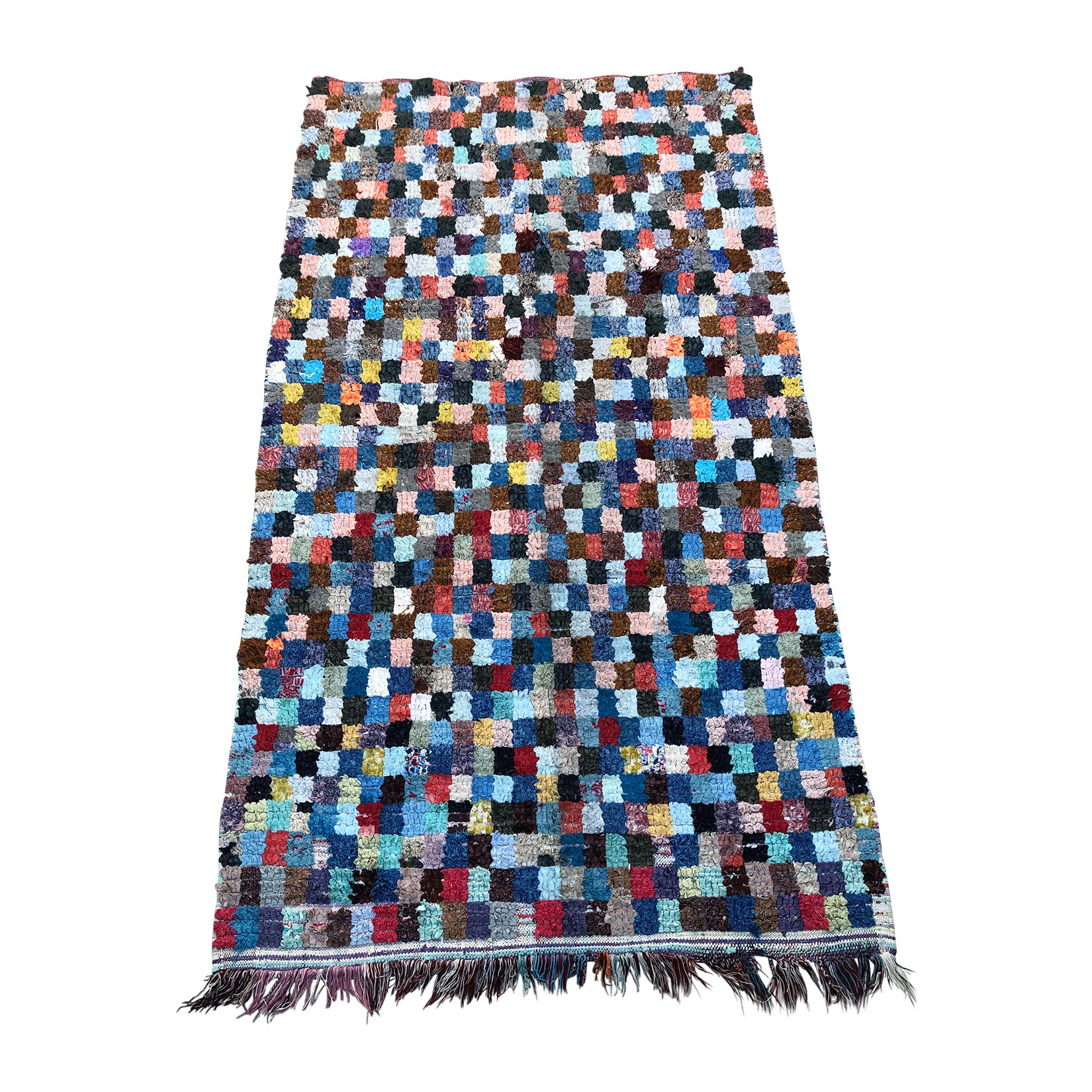 ABDOU - Moroccan boucherouite rag rug with checkerboard pattern - Kantara | Moroccan Rugs