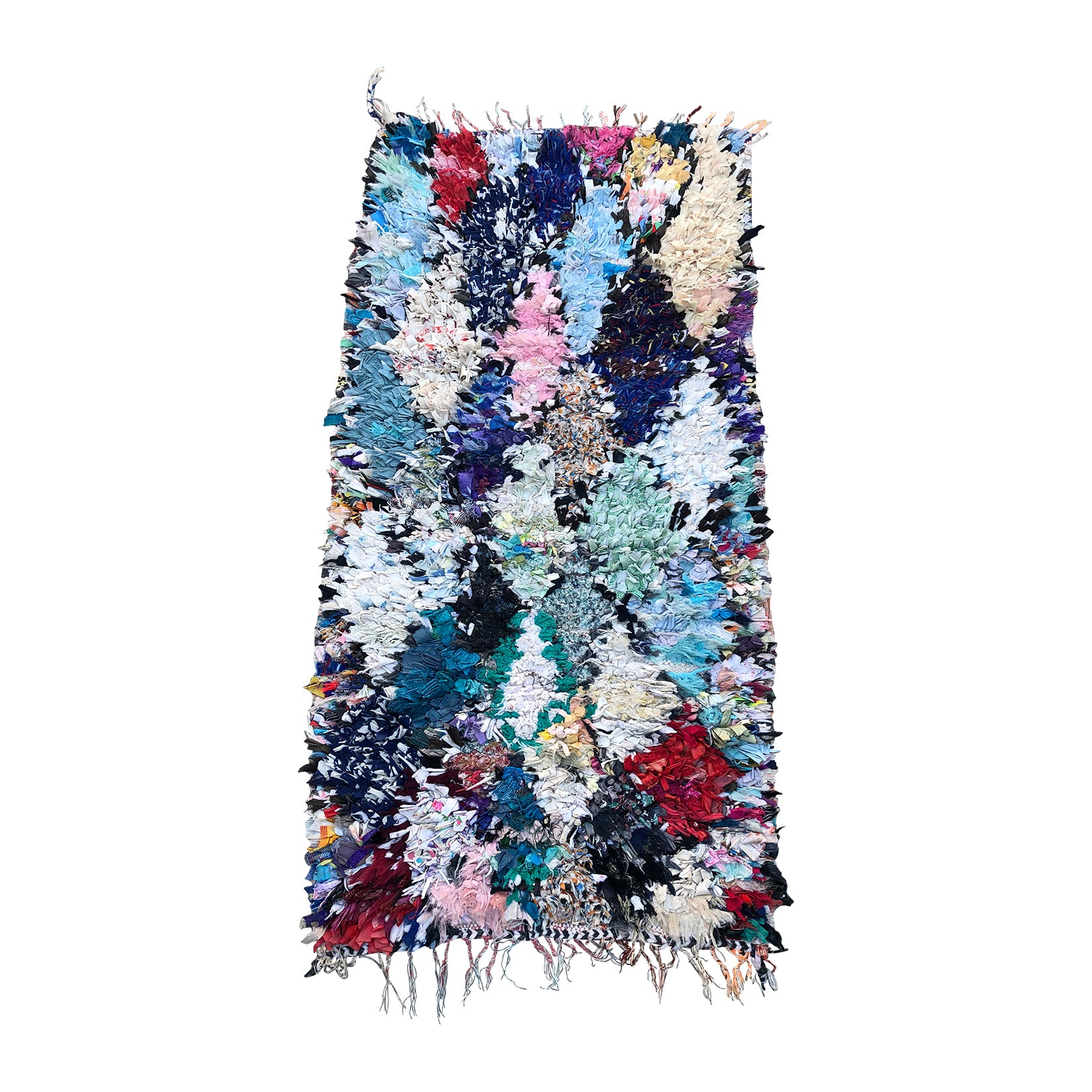 SALMA - Small boucherouite throw rug in fresh shades of blue and pink