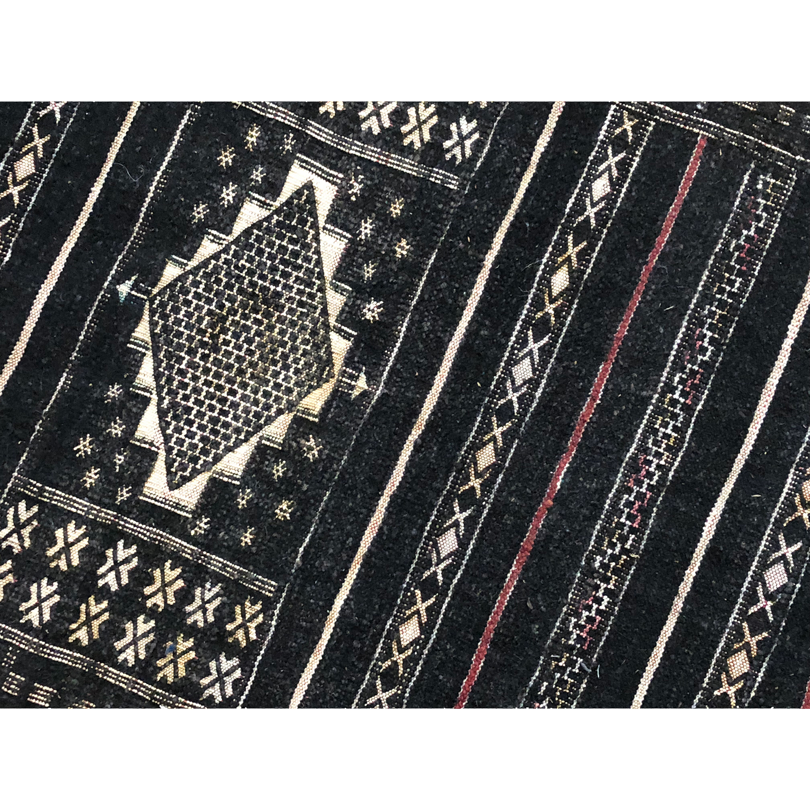 Black Moroccan runner rug with geometric pattern design  - Kantara | Moroccan Rugs