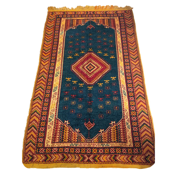 Traditional low pile rust colored Moroccan rug - Kantara | Moroccan Rugs