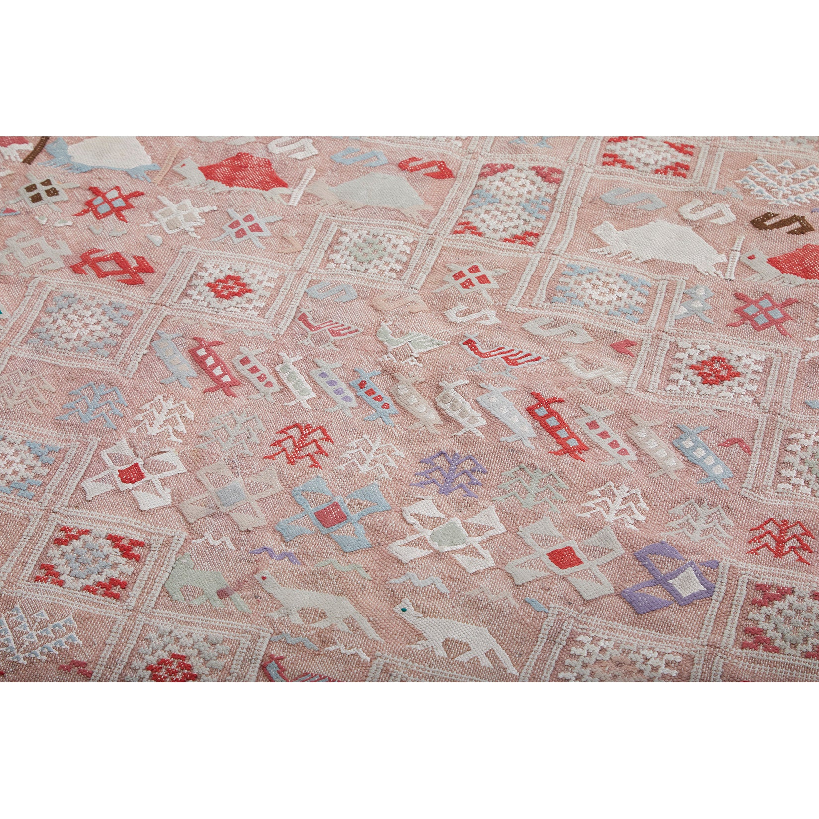 IGROUNA - Vintage Moroccan Area Rug with animals - Kantara | Moroccan Rugs