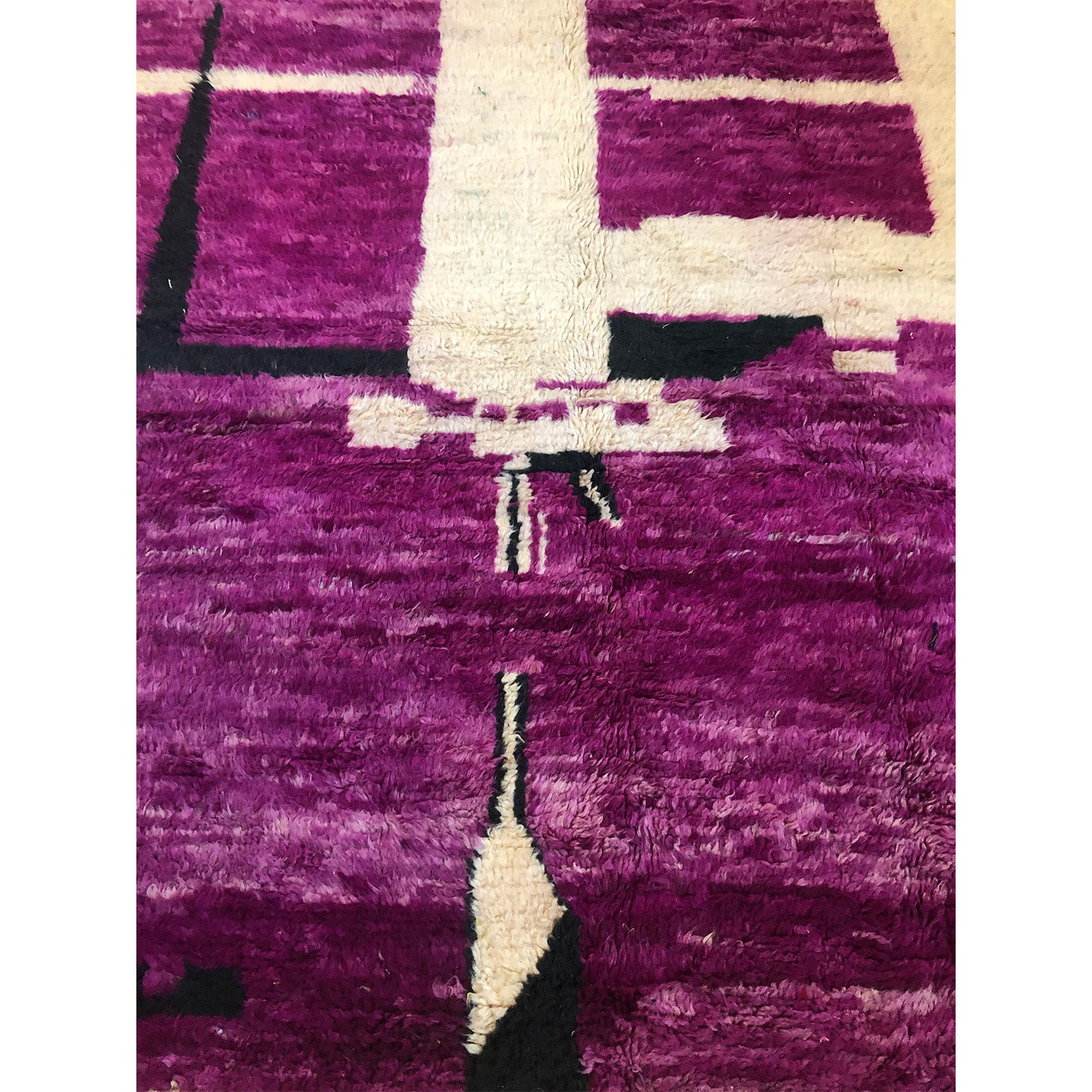 Vintage bohemian purple and black berber carpet - Kantara | Moroccan Rugs
