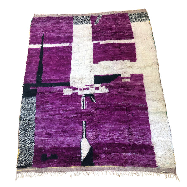 Low pile purple and black Moroccan rug- Kantara | Moroccan Rugs