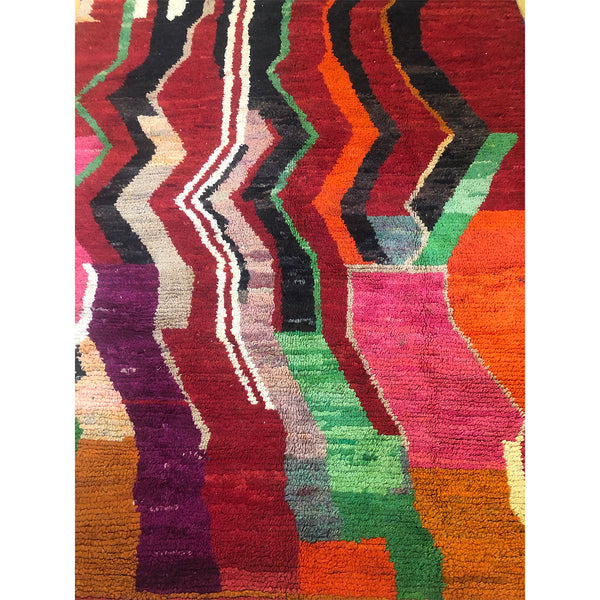 Colorful art deco red berber carpet - Kantara | Moroccan Rugs