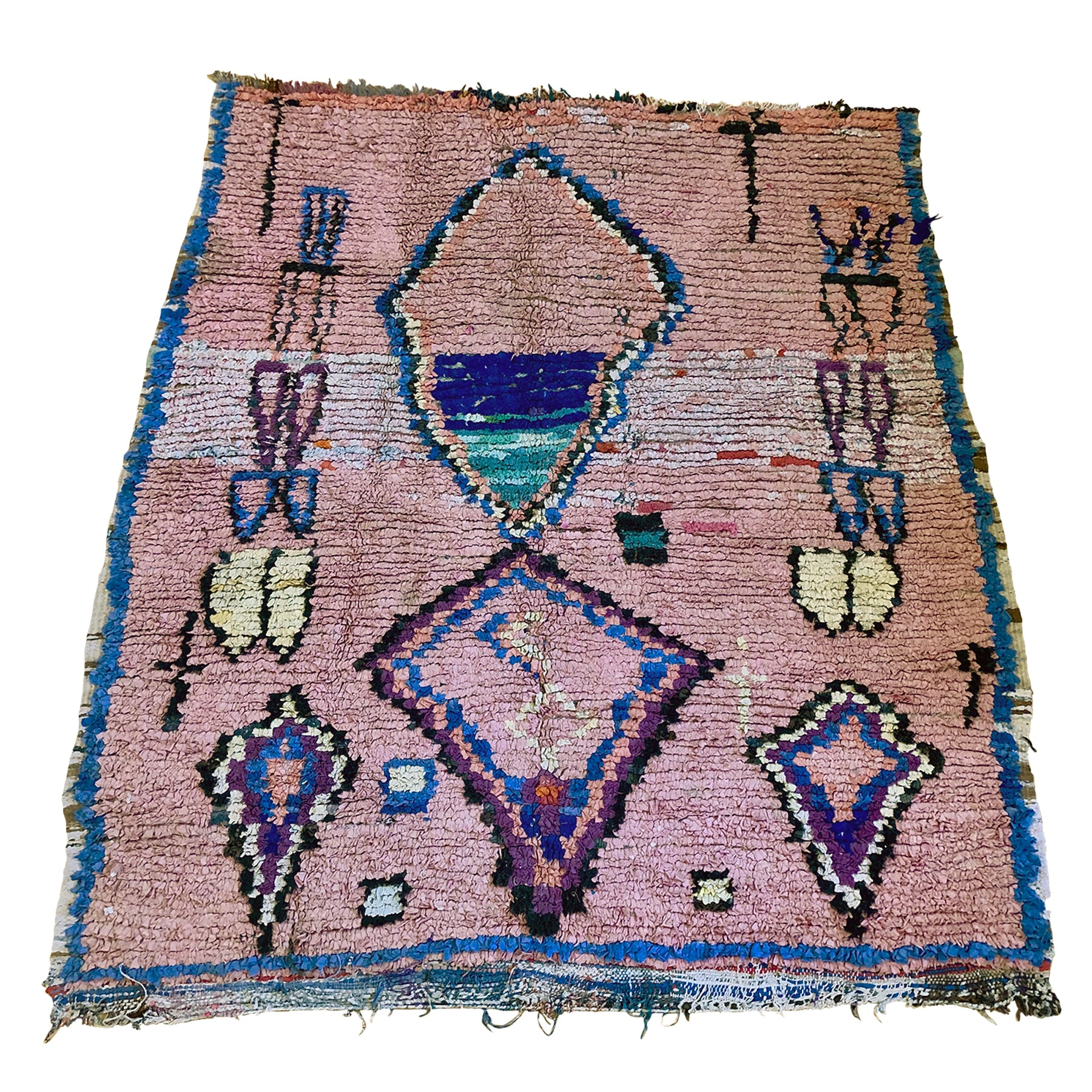WAFA - Pink Boucherouite throw - Kantara | Moroccan Rugs