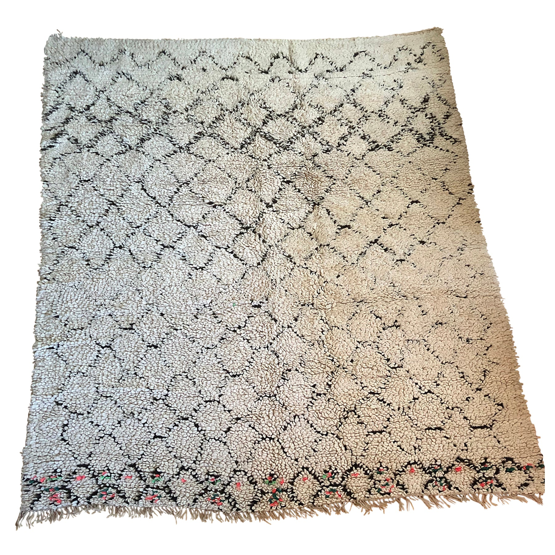 White Moroccan bedside rug with inlaid black diamond pattern - Kantara | Moroccan Rugs