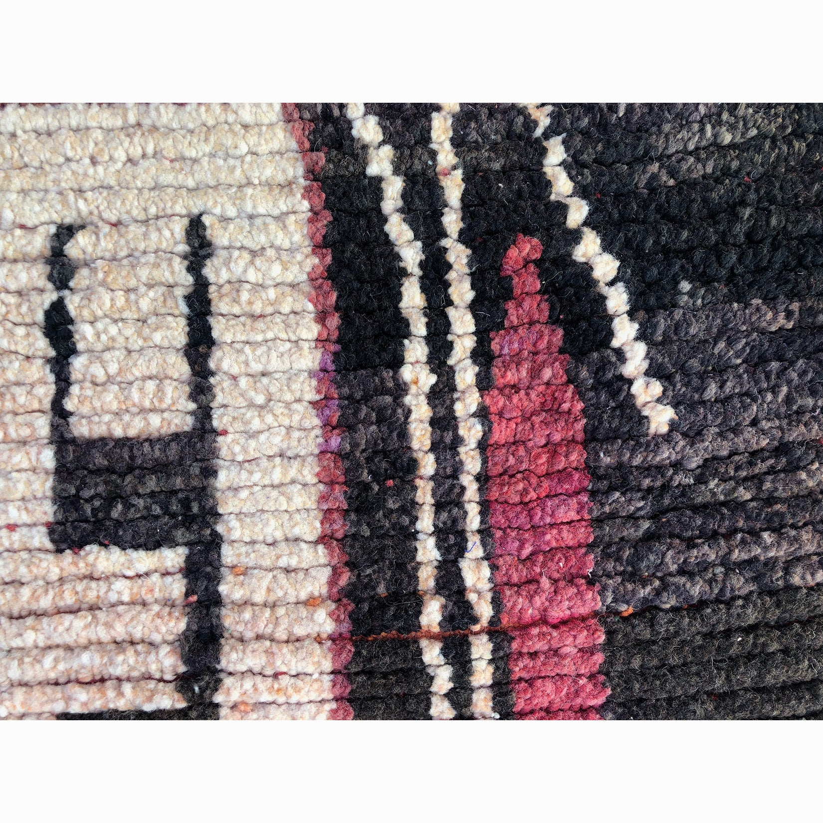 Pink black and cream low pile Moroccan rug- Kantara | Moroccan Rugs