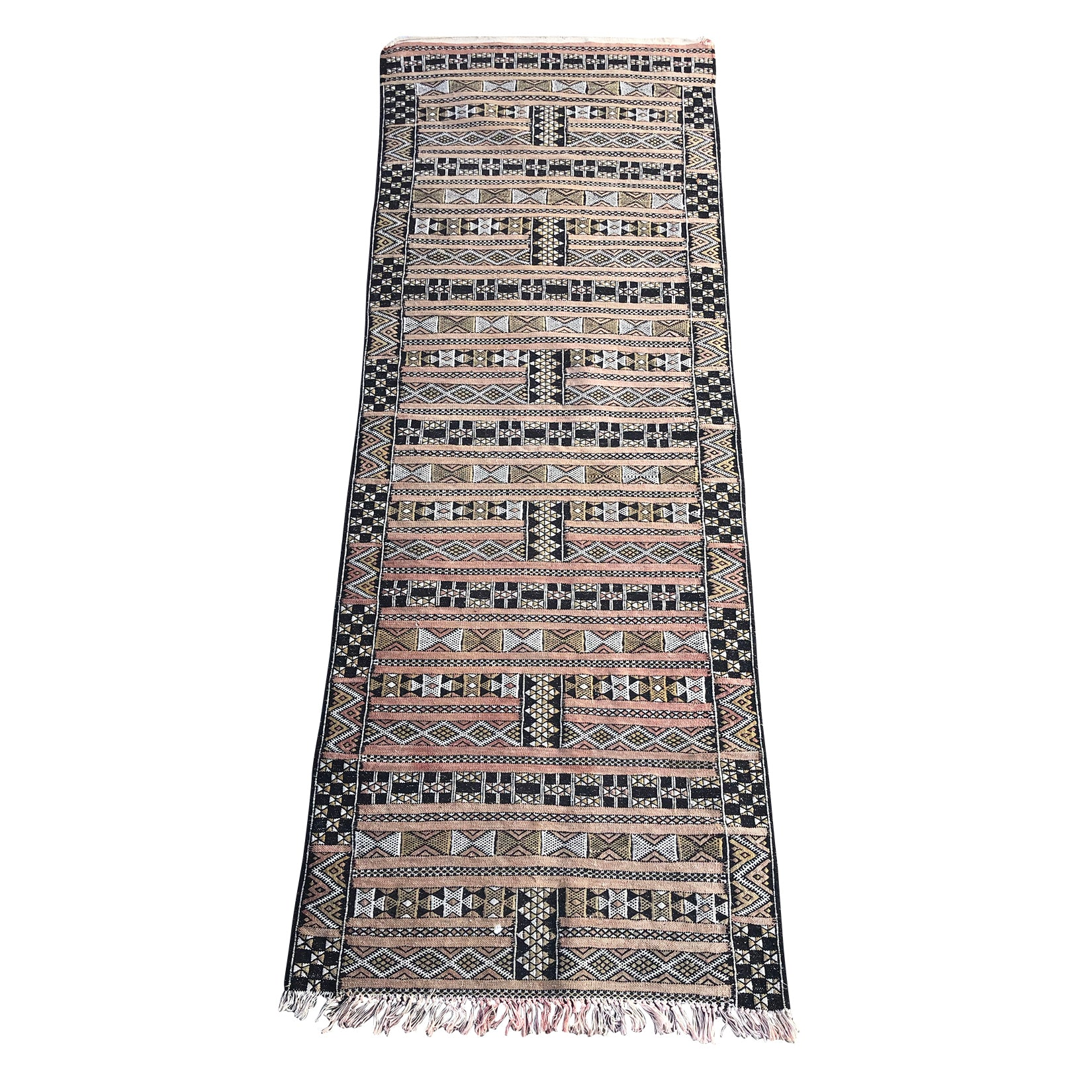 Traditional brown and white Moroccan runner rug - Kantara | Moroccan Rugs