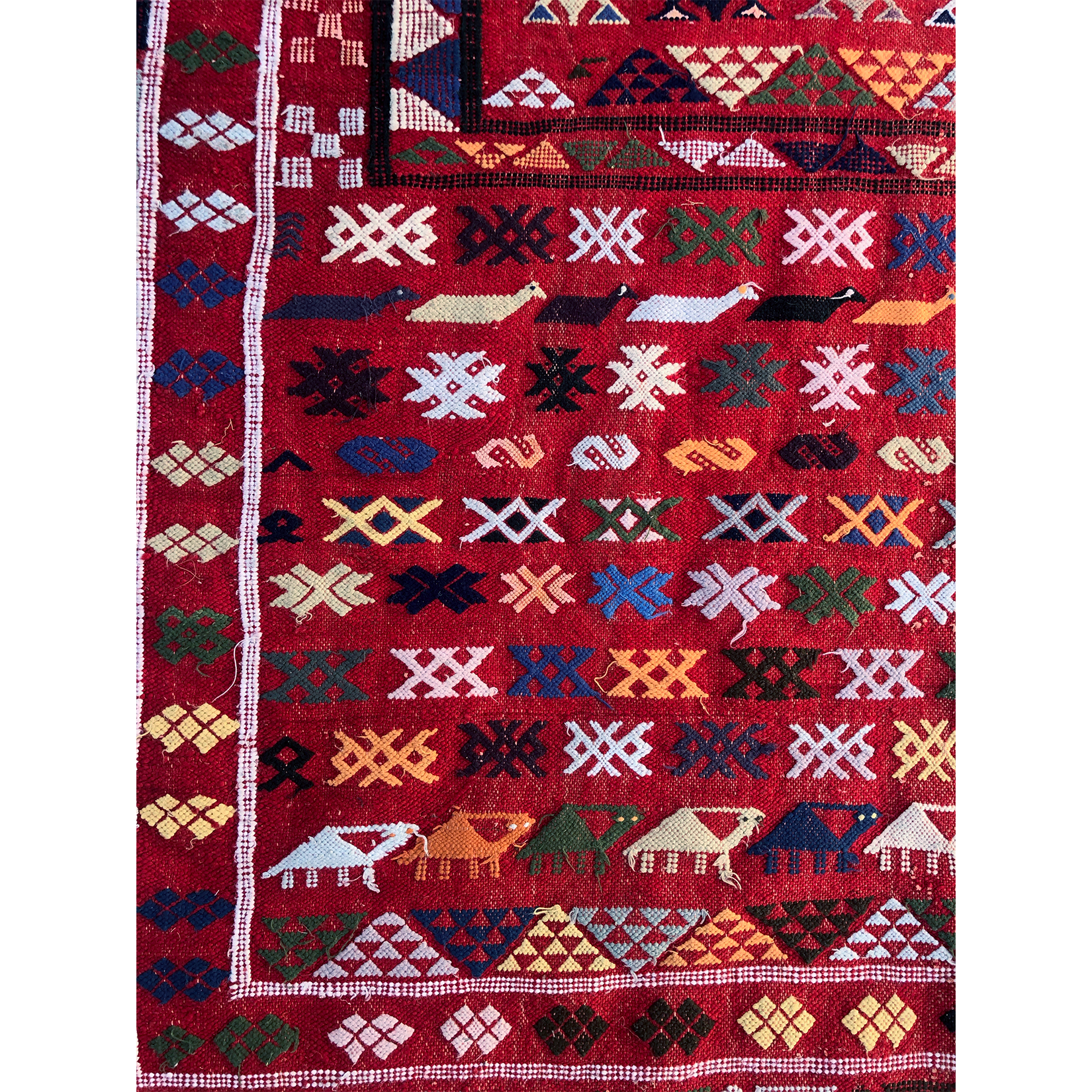 HIBA - Boujaad Moroccan Large Rug with Animals - Kantara | Moroccan Rugs