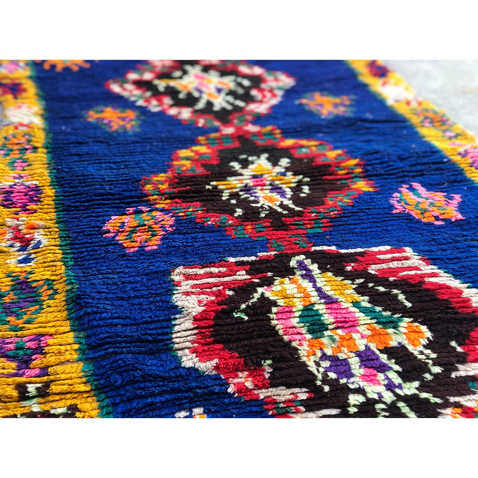 HAJRA - Royal blue boucherouite runner - Kantara | Moroccan Rugs