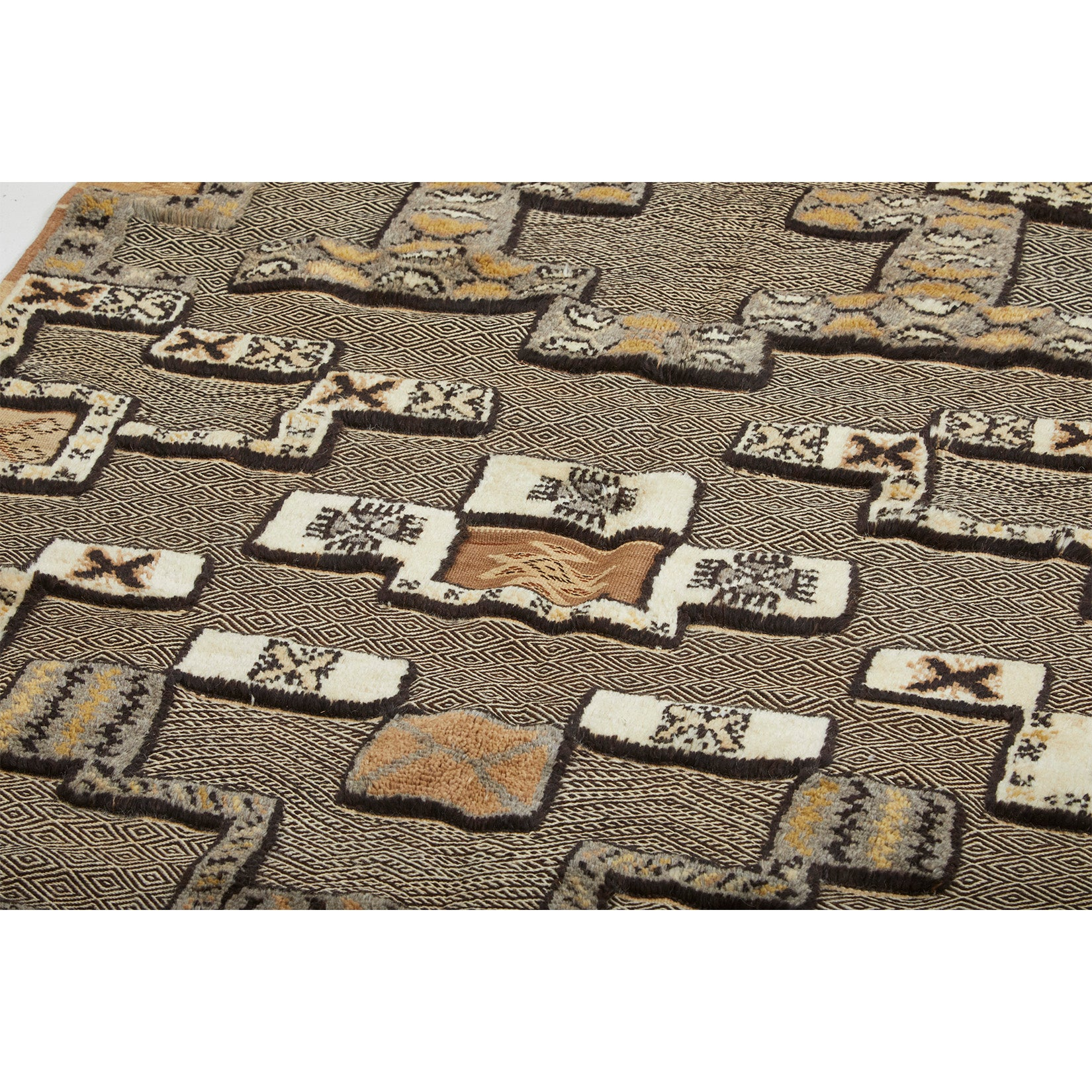 Brown, black, and white tribal berber carpet with both pile and flatweave sections - Kantara | Moroccan Rugs