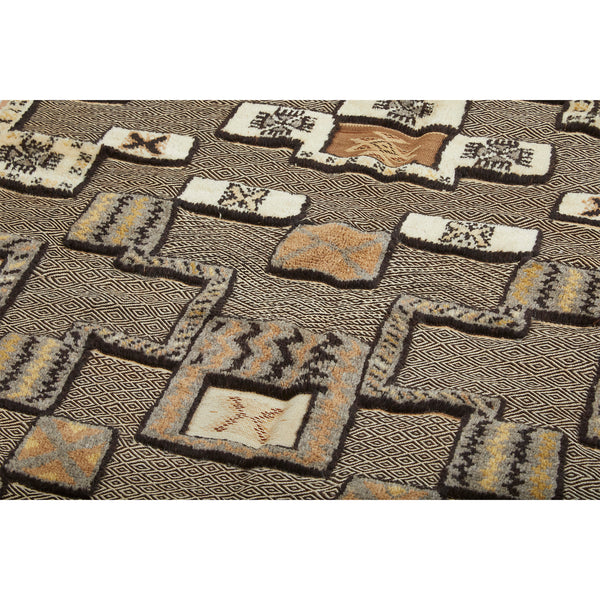 Contemporary golden brown geometric berber carpet - Kantara | Moroccan Rugs