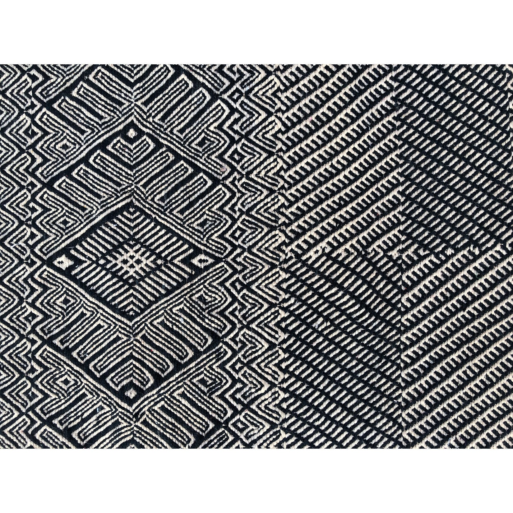 Black and white authentic flat weave berber rug - Kantara | Moroccan Rugs