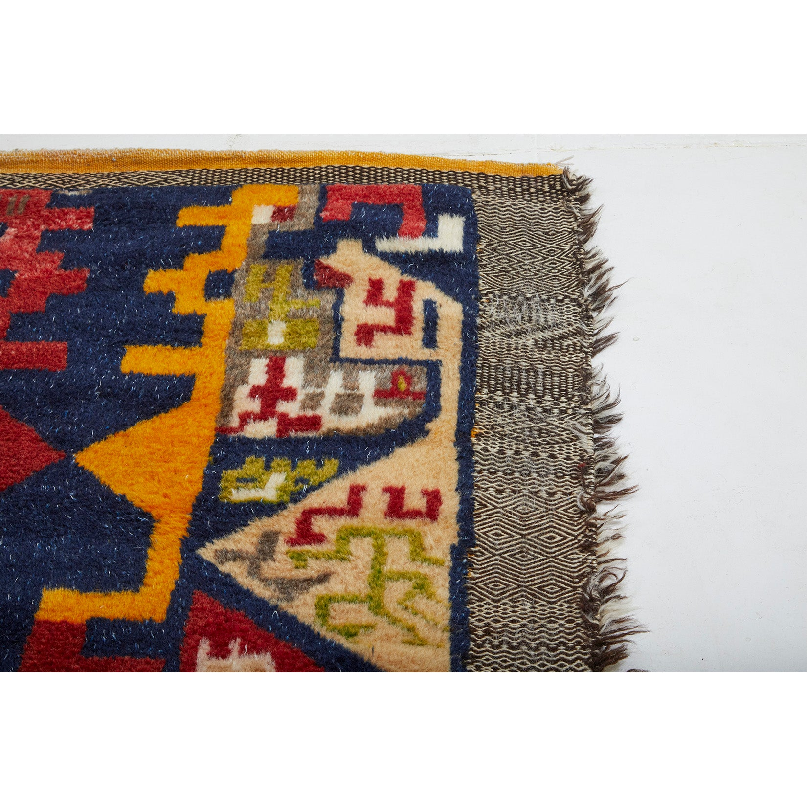 Red and navy blue colorful geometric pattern design wool Moroccan rug - Kantara | Moroccan Rugs