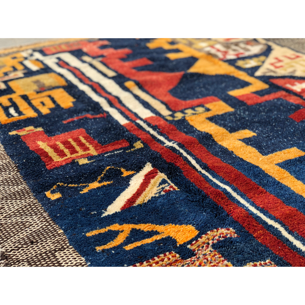 Vintage colorful geometric pattern design wool Moroccan rug - Kantara | Moroccan Rugs