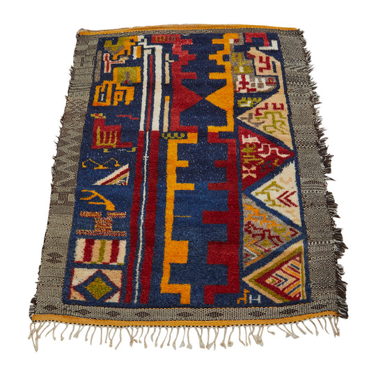 Authentic colorful geometric pattern design Moroccan Rug - Kantara | Moroccan Rugs
