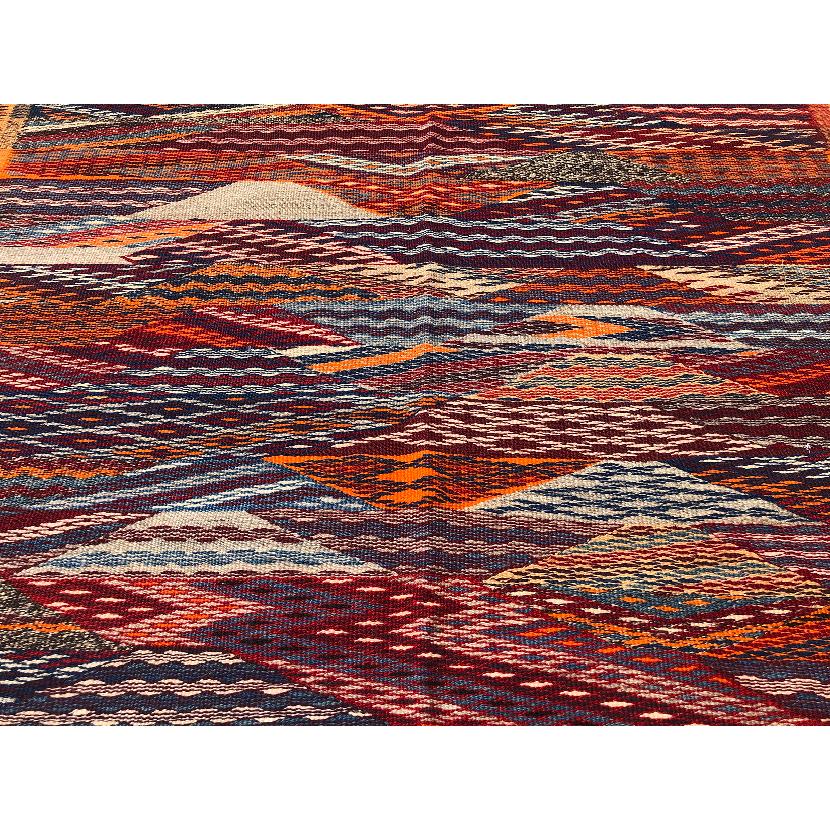 Red contemporary flat weave Moroccan rug - Kantara | Moroccan Rugs