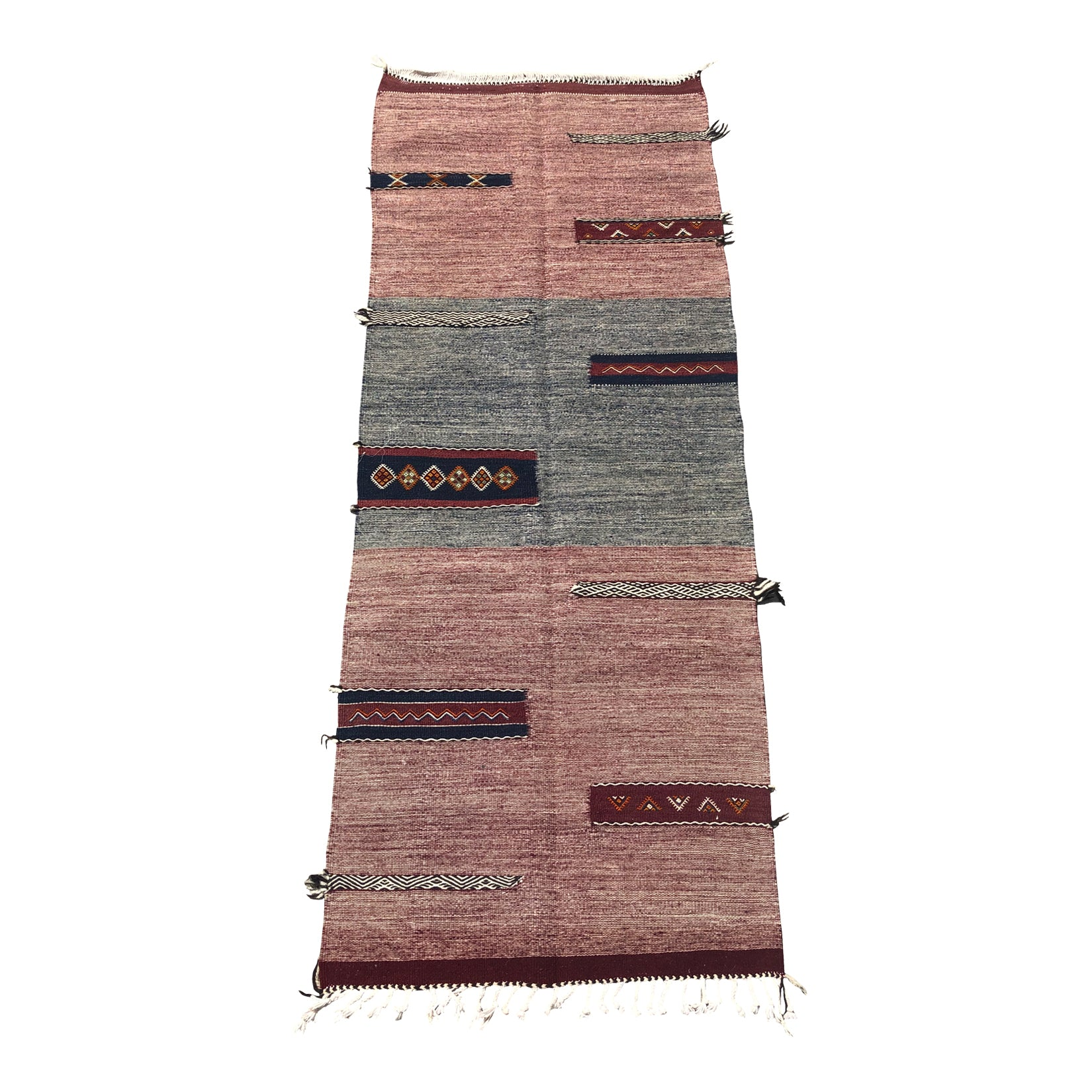 Contemporary red and grey Moroccan flat weave rug - Kantara | Moroccan Rugs