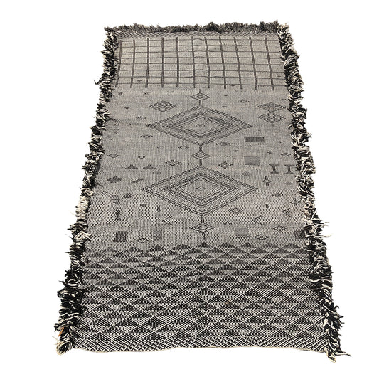 Bohemian contemporary black and white Moroccan rug - Kantara | Moroccan Rugs