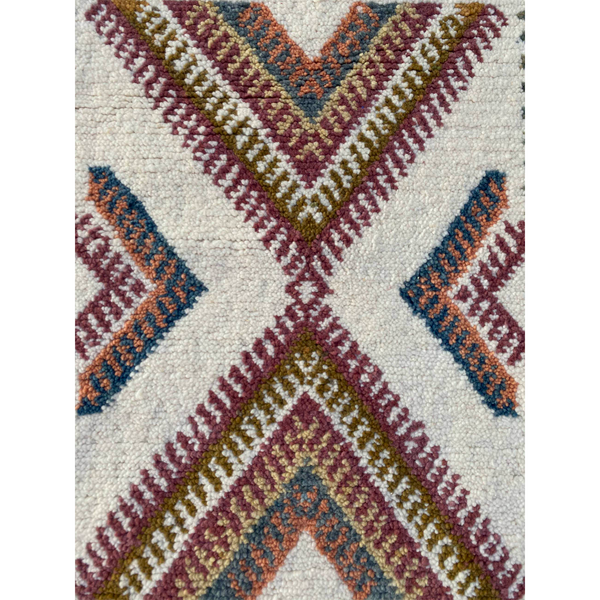 Authentic Berber throw rug with colorful geometric pattern - Kantara | Moroccan Rugs