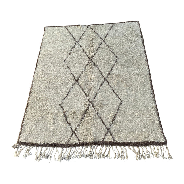 White Moroccan Beni Ourain rug with geometric pattern design - Kantara | Moroccan Rugs