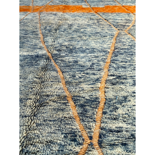 Blue Moroccan area rug with abstract pattern - Kantara | Moroccan Rugs